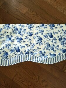 Waverly FLORAL TOILE Blue White  Valance 78'' x 14''
