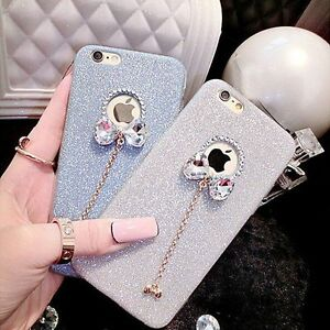 NEW Bow knot Glitter Sparkly Soft Gel Phone Cover Case For iPhone 5/SE 6 7 Plus