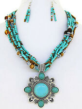 Western Cowgirl Turquoise Seed Bead Silver Tone Concho Pendant Necklace Set