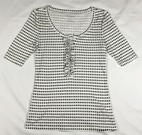 EUC Women's Old Navy White and Black Polka Dot Knit Henley Top-Size S