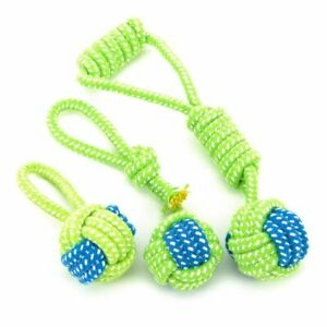 Dog Chew Toys Teeth Cleaning Green Rope Ball Training Exercising Fun Playing Toy