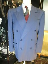 1940s Double-breasted / Early 1950s Blue Gabardine suit Jacket coat Wool 40R