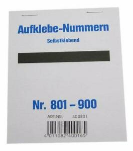 Wolf & Appenzeller 400801 - Gewinnaufklebe-Nummern  801-900, selbstklebend