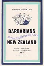 Barbarians v New Zealand All Blacks 27 Jan 1973 RUGBY PROG Cardiff, Edwards try