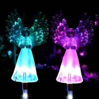 2pcs LED Solar Power Garden Lights Angel Stake Outdoor Path Luminous Lamps Wings