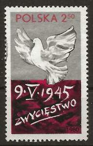 Poland 1980 - 35th anniv of end of War in Europe. Dove, Just cancelled, no gum