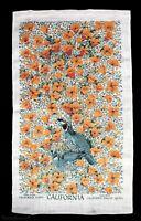 VTG California Quail & Poppy Linen Kitchen Tea Towel by Kay Dee Lois Long USA