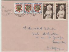 France 1952 cover to Belgium with '51 Red Cross issue in postage