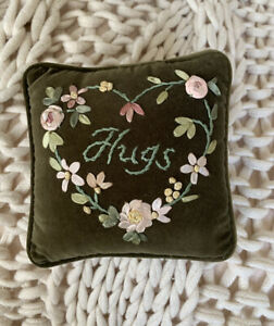 Vintage Sweet Mini Pillow Perfect For Ring Bearer  Delicate Heart Embroidery 6x6