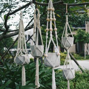 Vintage Macrame Plant Hanger Basket Flowerpot Holder Hanging Rope Knotted Decor