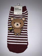 FOREVER 21 Ankle Socks Bear & Honey Pot Print One Size NWT Maroon Stripes Women