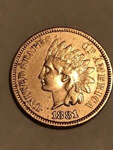 1881 COPPER INDIAN HEAD CENT Full Liberty Cleaned