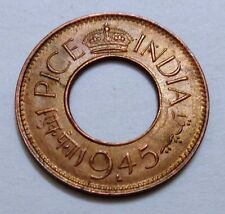 VERY RARE 1 PICE UNC 1945 COIN LAHORE MINT