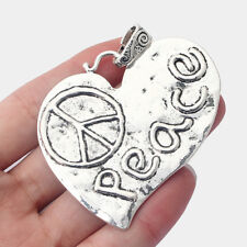 2pcs Large Antique Silver Tone Heart Shaped Carved Peace Symbol Charms Pendants
