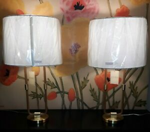 "Lauren Ralph Lauren 27"" Saddle Leather and Brass Tone Table Lamps Set of 2 NWT"