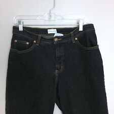 Soft Surroundings Women's Straight Jeans M 10 Petite Boot Classic Black Stretch