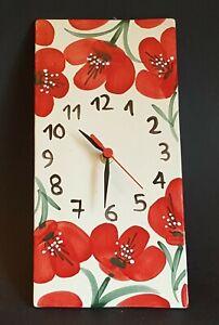 Spanish Ceramic Square Clock 30cm x 14.5cm