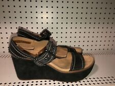 Clarks Artisan Womens Suede Slingback Peep Toe Wedge Sandals Size 9.5 Black