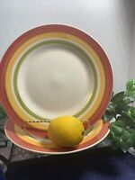 "Set Of 2 Royal Norfolk Striped 10.5"" Dinner Plates. Red, Orange, and Green."