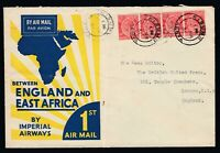 1931 Imperial Airways Cachet cover Kisuma Kenya - London Heavy Folds Wear Toning