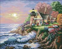 Free shipping needlework 14 counted aida cross stitch seascape kit TD176