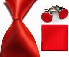Hot! LT0417 Red Solid Plain Necktie Men's Tie Cufflink Hanky Handkerchief Set 1