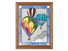 13x16 HOT AIR BALLOON Stained Art Glass Framed Suncatcher