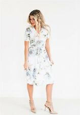 Womens Ladies Floral Long Maxi Dress Short Sleeve Party Summer Beach Sundress