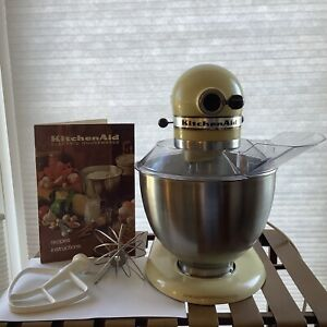 KitchenAid Vintage Stand Mixer Yellow Guard Manual Whisk Beater Hook Working K45