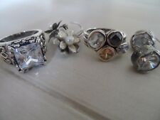 Silpada Sterling Silver Lot Rings (8-8.5) and Earrings CZ and Pearl Flower