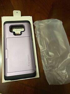 Samsung Galaxy Note 9 Case, Spigen Lavender Slim Armor Cs Card Holder Case