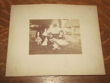 a Superb Antique Albumen Photograph of a Young Girl w/ Doll House & Collection