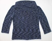 Jones New York Collection Women's Sweater Chambray Sz L Blue Cowl Neck 3/4 Sleev