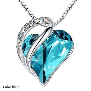 Luxury Womens Silver Love Heart Lake Blue Zircon Pendant Necklace Party Jewelry