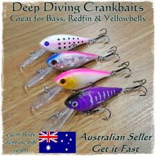 4 Redfin & Bass Fishing Lures Yellowbelly, Flathead, Bream, Salmon Deep Diving