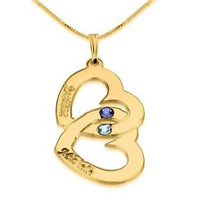 Birthstone Hearts Necklace - Engraved Two Name 24k Gold Plated - oNecklace ®