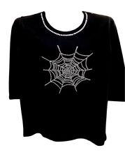 1X 20/22 HALLOWEEN SPIDER WEB TERAZZO WOMEN'S ART MOTIF DESIGN COTTON KNIT TOP