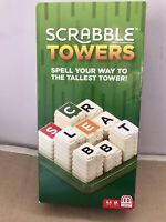 Scrabble Towers Word Making Letter Stacking Board Game. Open Box, Never Played.
