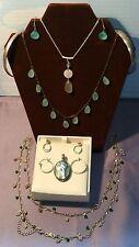 Lot of 9 Sterling Silver Jewelry 925 Necklace, Earrings, Bracelet ~ Green Stone