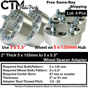 """4P 2"""" THICK 5x135mm to 5x5.5"""" WHEEL ADAPTER SPACER FIT 12x1.75 STUD FORD LINCOLN"""