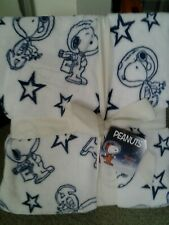 """Peanuts Snoopy NASA Flying Ace Space Astronaut FULL QUEEN Blanket Throw 90""""x90"""""""