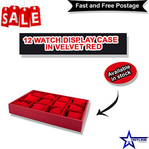 12 Pc's Red Velvet Watch Display Case Jewelry Collection Storage Organizer Boxes