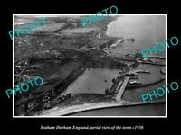 OLD LARGE HISTORIC PHOTO SEAHAM DURHAM ENGLAND AERIAL VIEW OF TOWN c1930