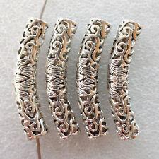10 Pcs Tibetan Silver Alloy Hollow Elbow Tube Spacer Beads 48x9mm YC-64138 (W)