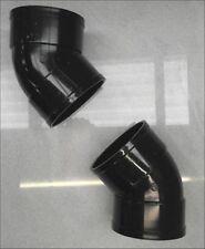"""SOLVENTE 110mm tubo di terreno Offset Curve 45 ° collo di cigno-Nero Incollato 4"""" ABS Vent"""