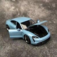 Welly 1/24 Diecast Porsche Taycan Turbo S car model door & bonnet openable blue