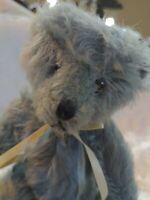 """Mohair Bear Mary Meyer Collection Carol Carini 10"""" JointedBlue Gray vtg bear 96"""