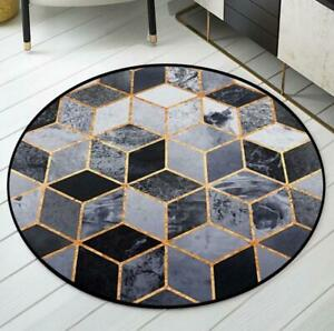Floor Door Mat Area Rug Cushion Non-Slip Living Room Carpet Marble Pattern Decor