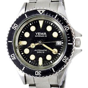 Yema Superman II Date Automatic 300m Original Dial Men's Vintage Wrist Watch