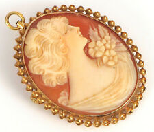 Victorian Woman Cameo Pendant Brooch ! Vintage Fine 14K Yellow Gold Carved Shell